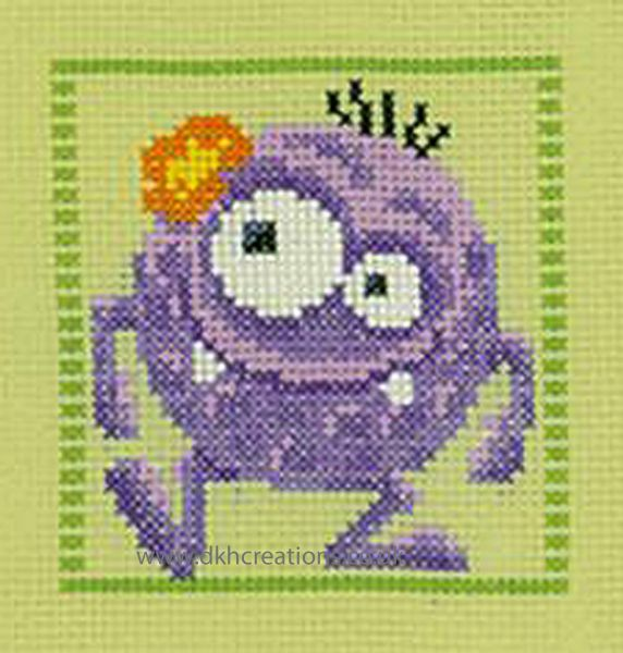 Purple Little Monster Cross Stitch Kit